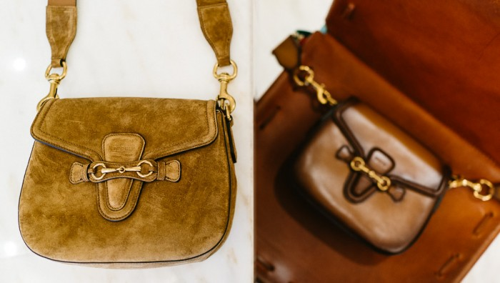 Left: Gucci Lady Web Suede Shoulder Bag -  $2,100. Right: Gucci Lady Web Hand Stained Leather Shoulder Bag - $2,700