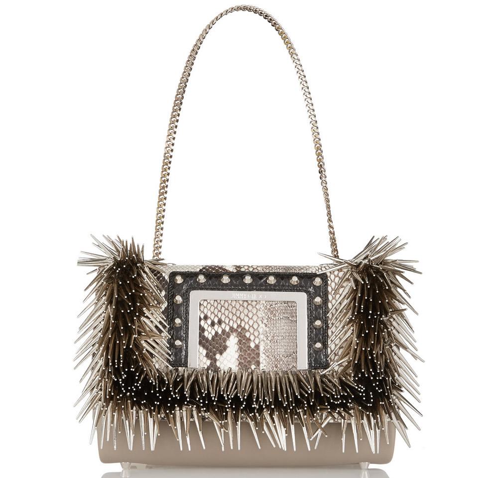 Jimmy Choo Alba Embellished Elaphe-Trimmed Bag