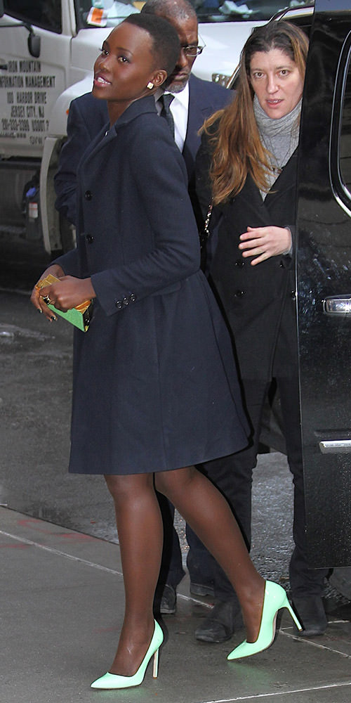 Lupita Nyong'o arrives to the 'Late Show with David Letterman' in NYC