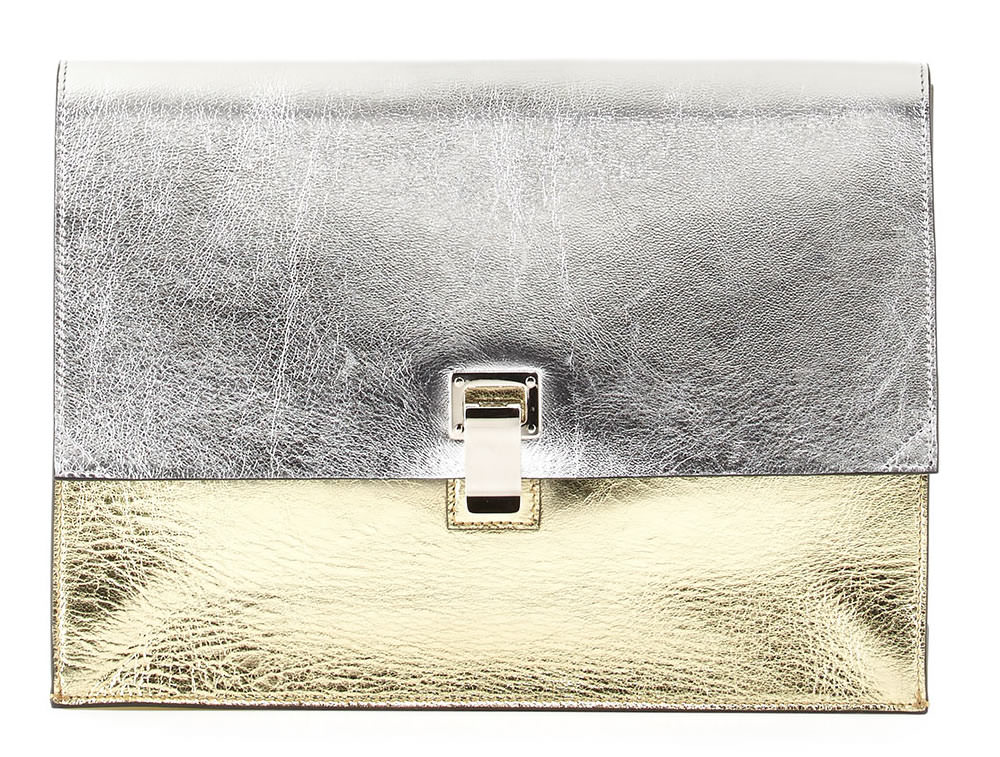Proenza Schouler Large Metallic Lunch Bag Clutch