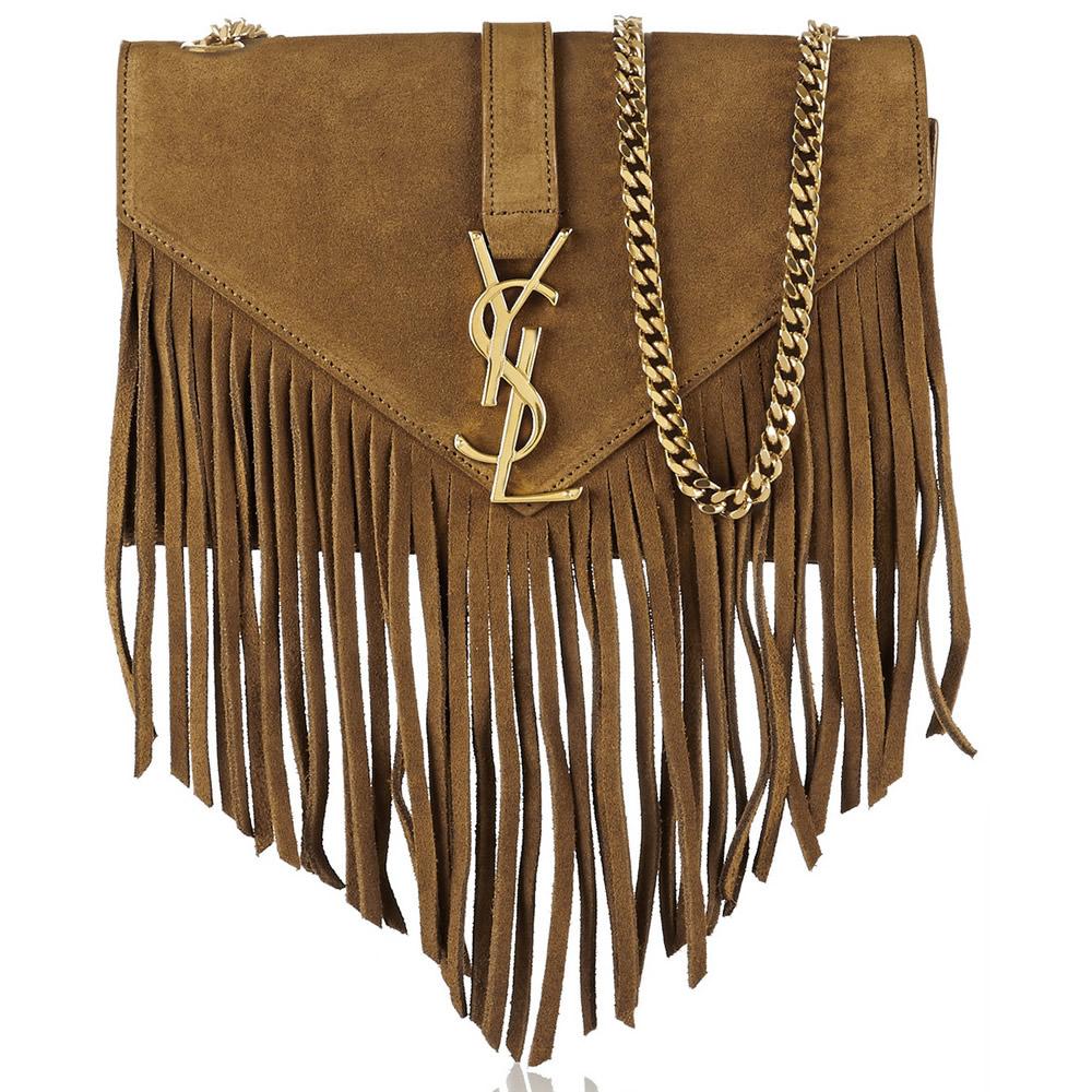 Saint Laurent Monogramme Fringed Suede Shoulder Bag