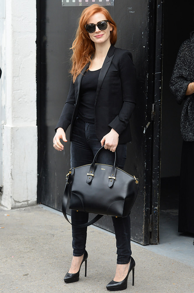 A cheeky fan seen getting an autograph from actress Jessica Chastain outside a studio in Paris.