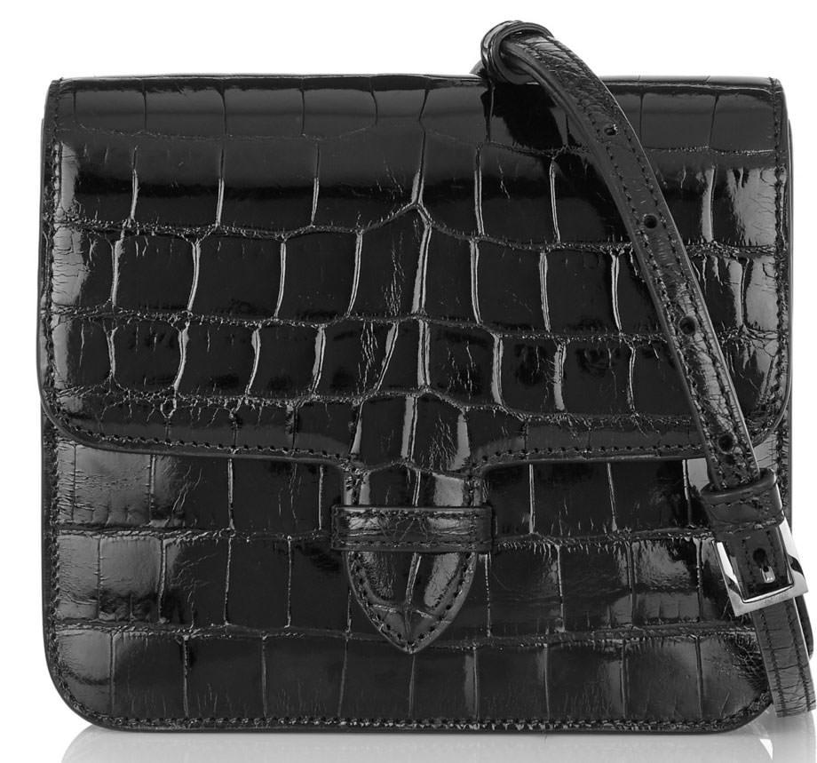 Alaia-Patent-Alligator-Shoulder-Bag