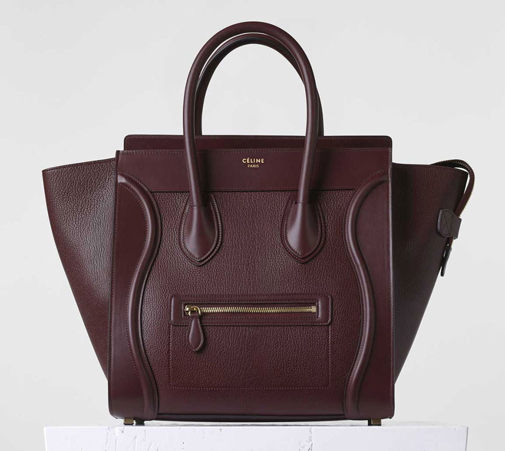 Celine-Mini-Luggage-Tote-Burgundy