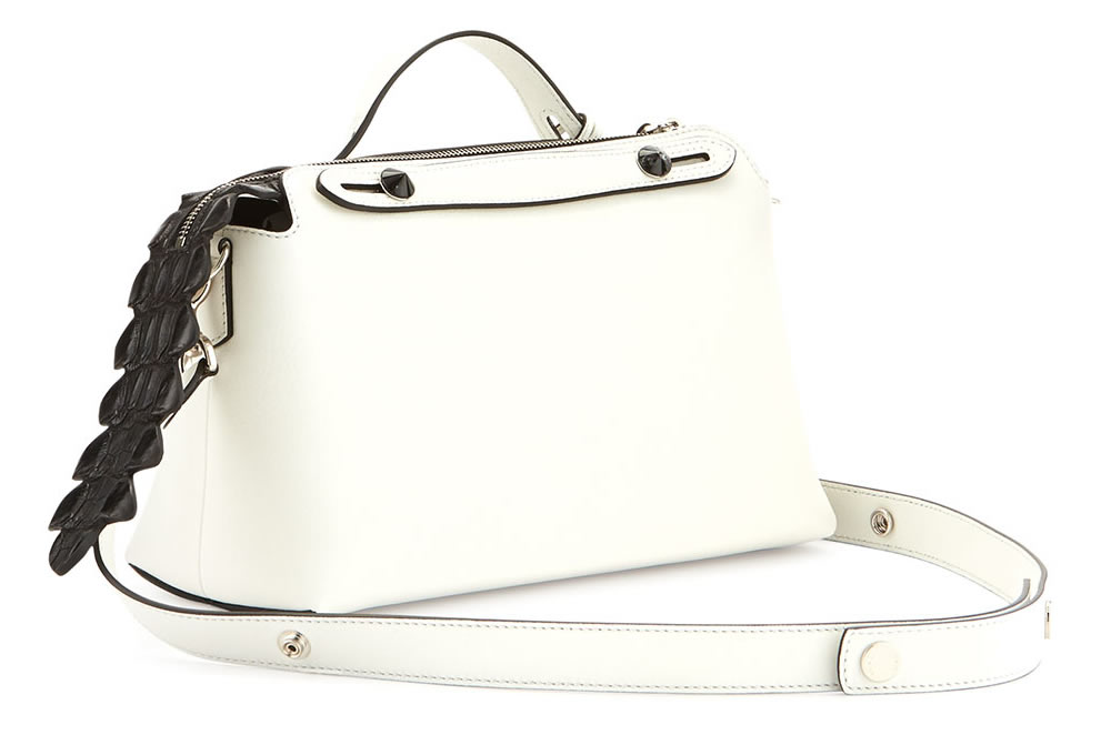 Fendi By The Way Small Croc Satchel in White and Black