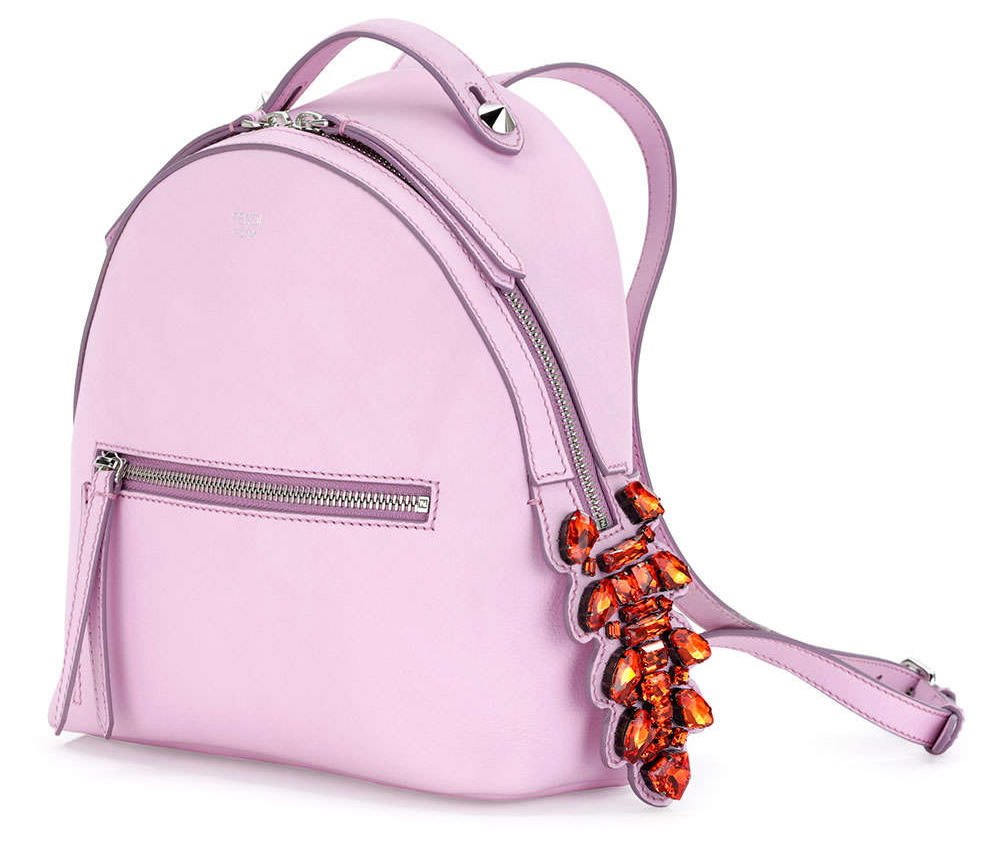 Fendi Mini Crystal-Croc-Tail Backpack in Light Pink