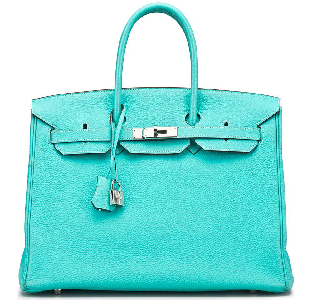 f05020f82639 ... new style hermes 35cm lagoon togo leather birkin bag 8ae3b c2b78