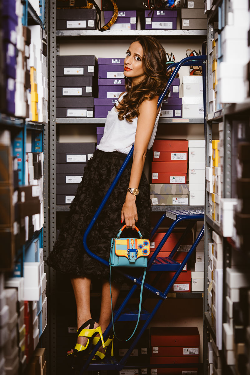 Paula Cademartori bag via Net-A-Porter. Balenciaga shoes, similar via Balenciaga. Hoss Intropia top, via Hint Miami. Ivan Grundahl skirt, via Hint Miami. Levain Kash Jewelry, via Levain Kash online. Dior Tribales earrings.