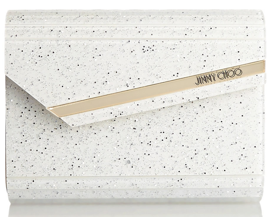 Jimmy Choo Candy Glittered Acrylic and Leather Clutch