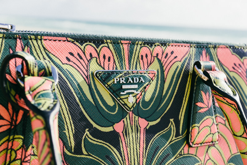Prada Double Zip Bag with Pink Tulips (3)