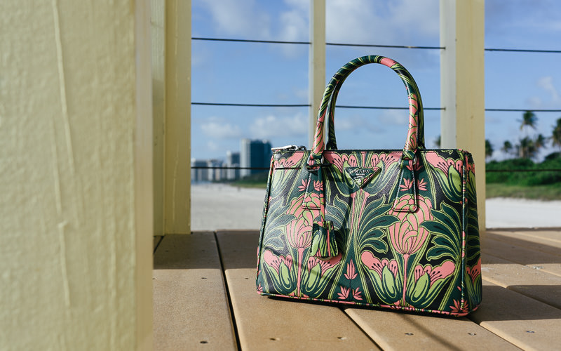 Prada Double Zip Bag with Pink Tulips (5)