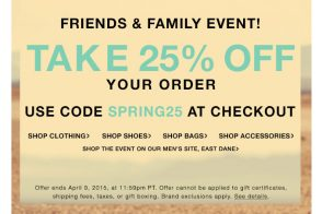Shop 25% Off at the 2015 Shopbop and East Dane Friends & Family Sale Now!