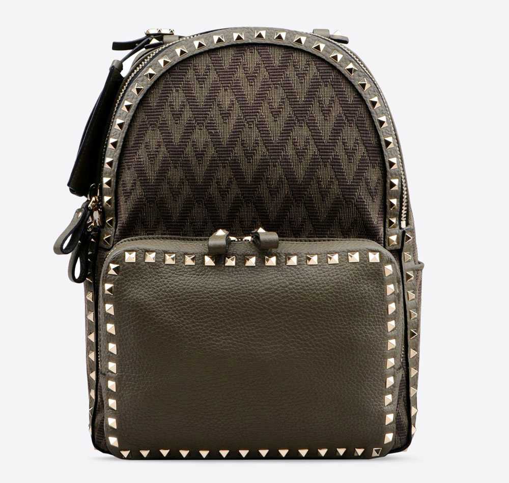 Valentino-Rockstud-Jacquard-and-Leather-Backpack