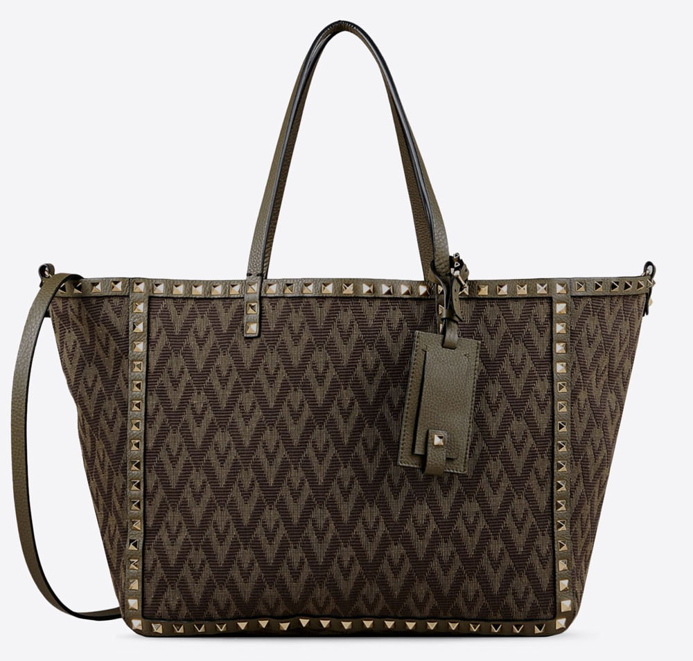 Valentino-Rockstud-Jacquard-and-Leather-Double-Tote