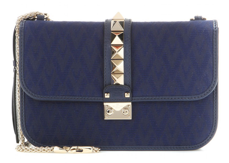 Valentino-Rockstud-Jacquard-and-Leather-Lock-Bag-Navy