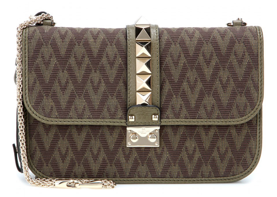 Valentino-Rockstud-Jacquard-and-Leather-Lock-Bag-Olive