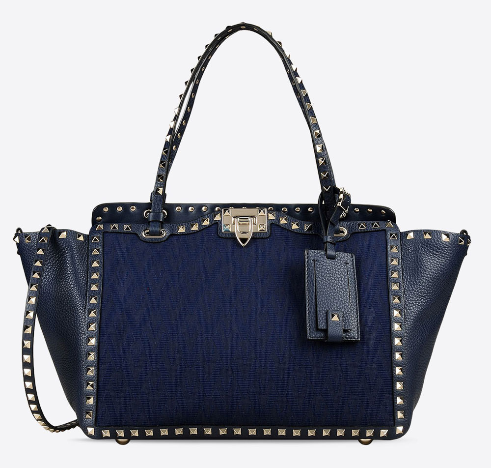 Valentino-Rockstud-Jacquard-and-Leather-Trapeze-Tote