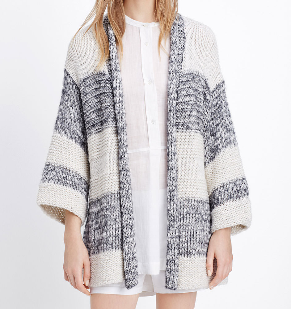 Vince-Chunky-Knit-Striped-Short-Sleeve-Cardigan