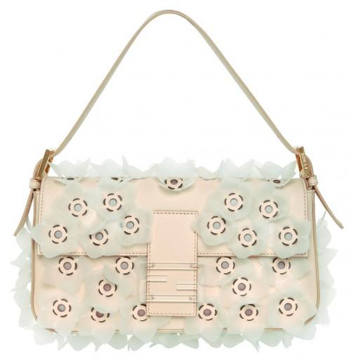 Fendi Flower Leather Baguette Bag