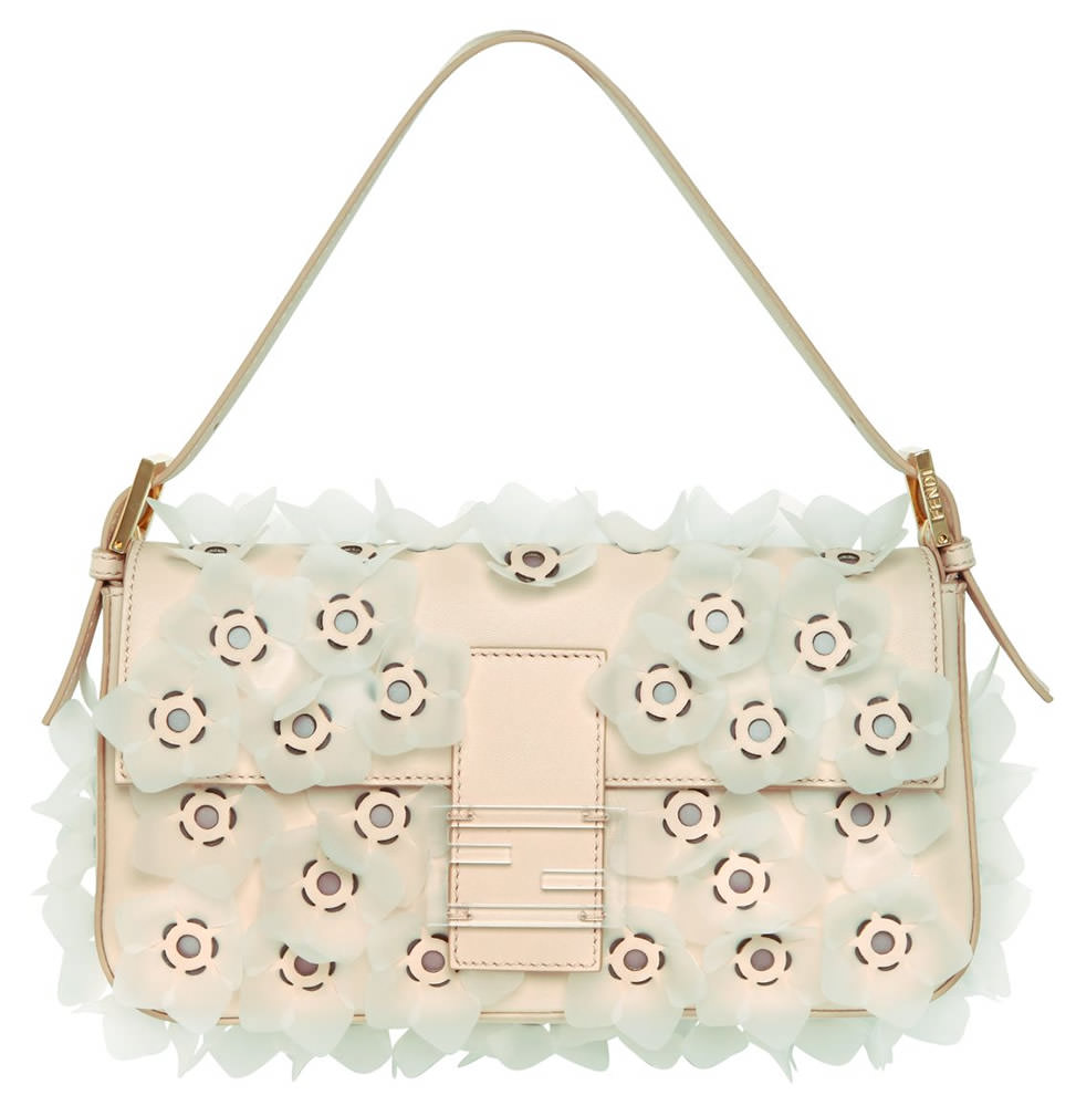 Fendi Flower Leather Baguette Bag