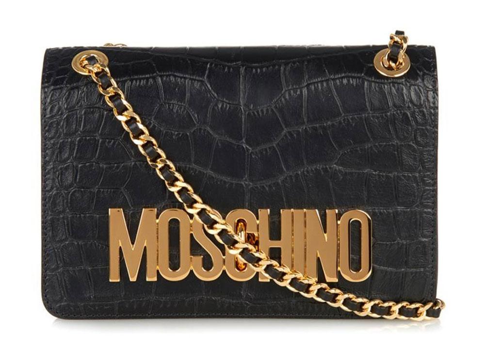 Moschino-Embossed-Croc-Logo-Shoulder-Bag