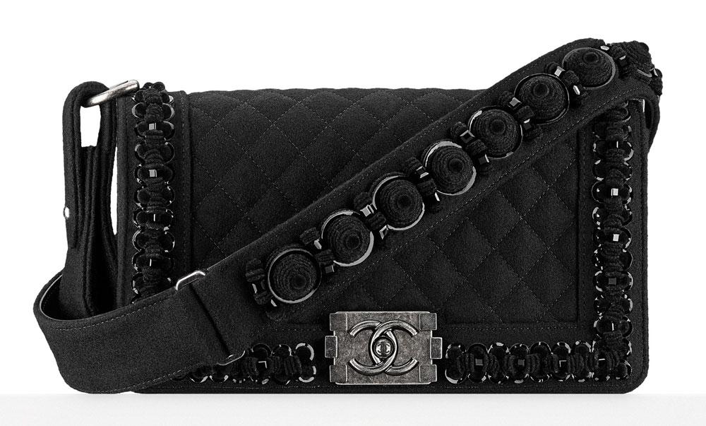Chanel-Felt-Embroidered-Boy-Bag-Black