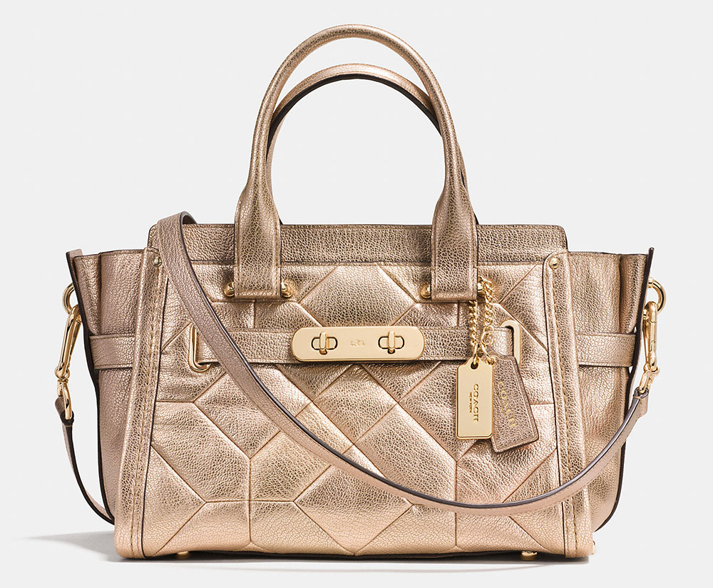 Coach-Swagger-Quilted-Metallic-Satchel