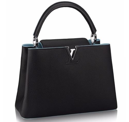 Louis Vuitton Capucines MM black and blue