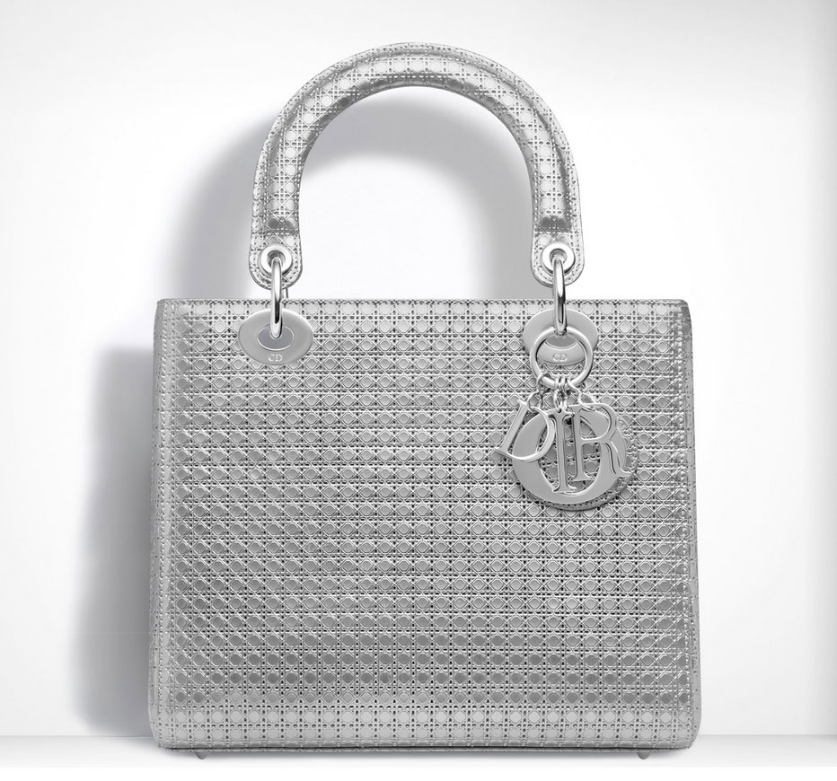 Dior-Lady-Dior-Bag-Perforated-Silver-Leather