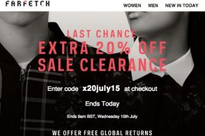 Take 20% Off Sale Items on farfetch.com Today