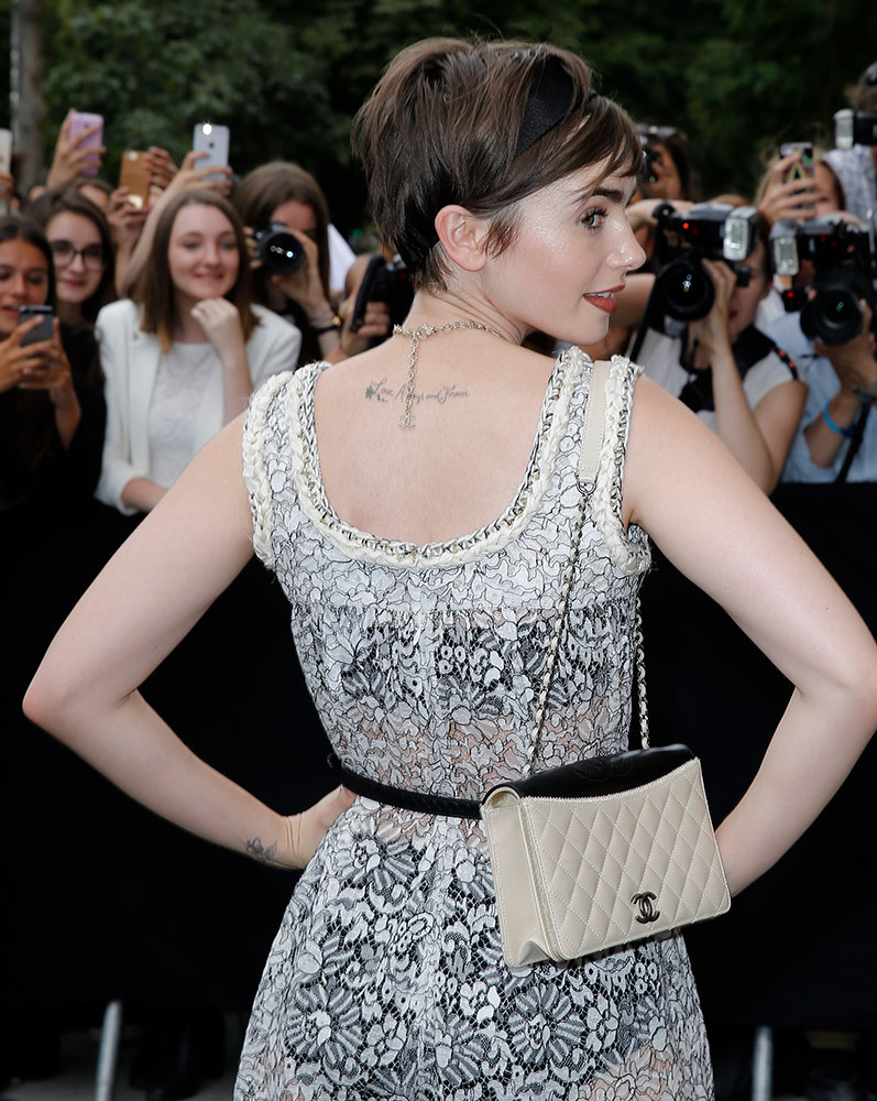 Lily-Collins-Chanel-Shoulder-Bag