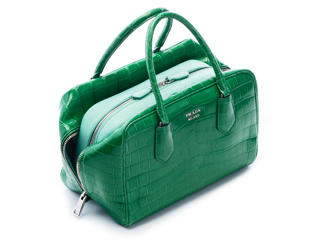 Prada Inside Bag Croco Verde Acquamarina