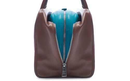 Prada Inside Bag Soft Calf Cannella Turchese Detail 05