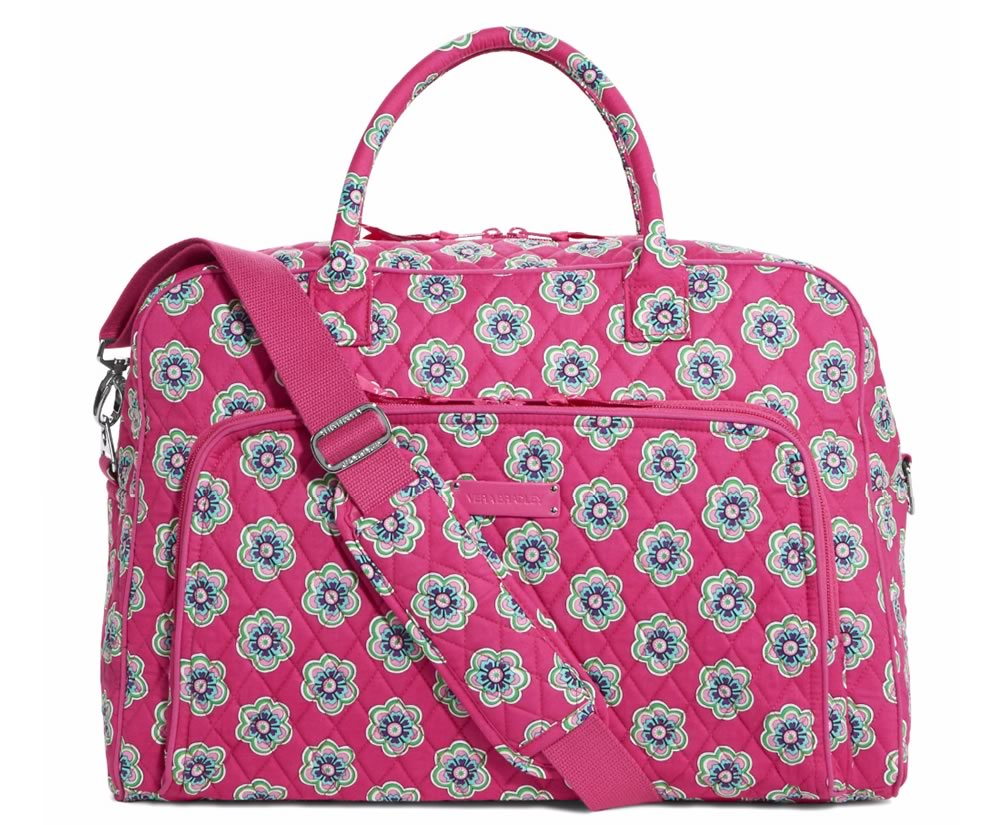 Vera Bradley Weekender Travel Bag in Pink Swirls Flowers