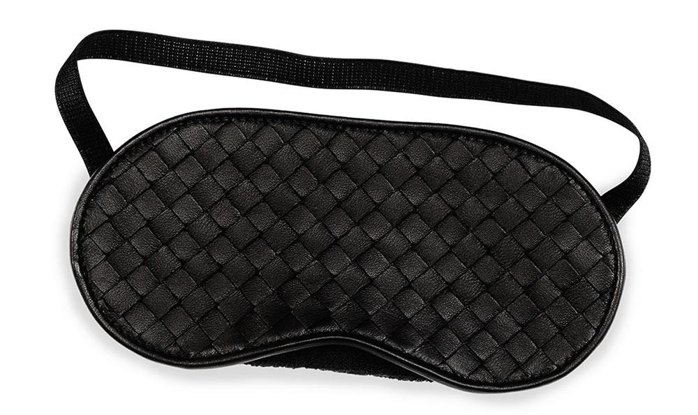 Bottega Veneta Intrecciato Leather Sleep Mask Black