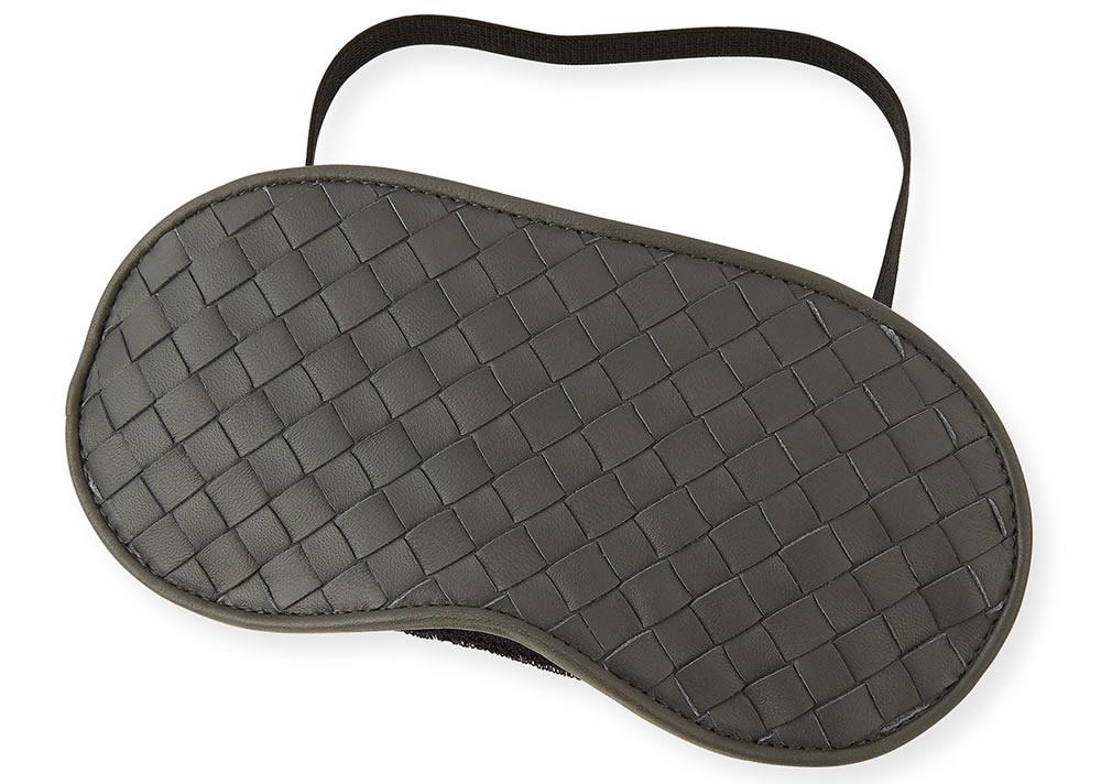 Bottega Veneta Intrecciato Leather Sleep Mask Light Grey