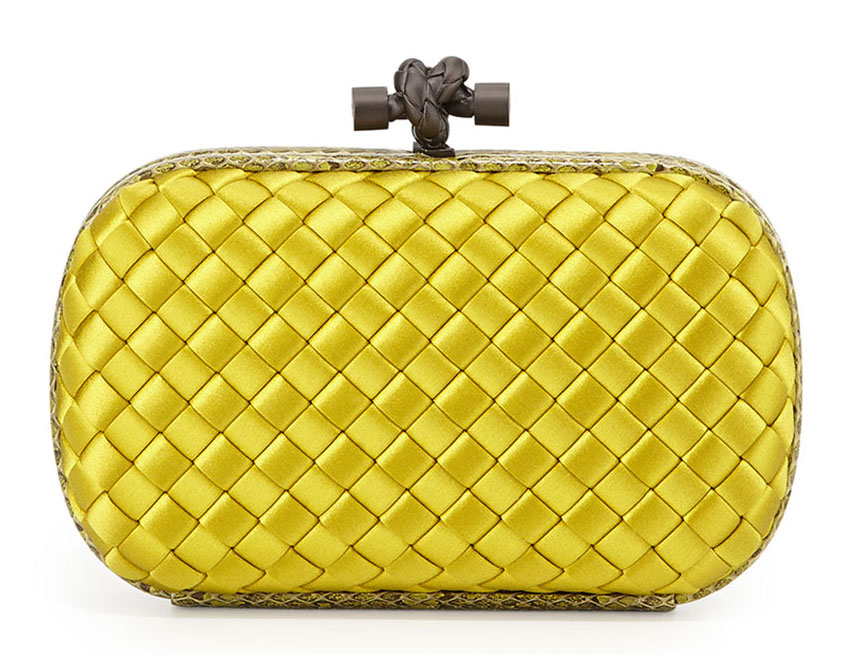 Bottega-Veneta-Silk-and-Snakeskin-Knot-Clutch