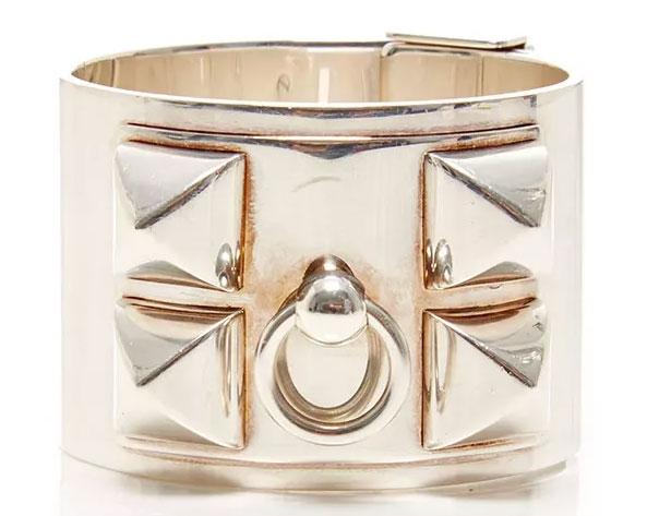 Hermes-Sterling-Silver-Collier-de-Chien-Cuff