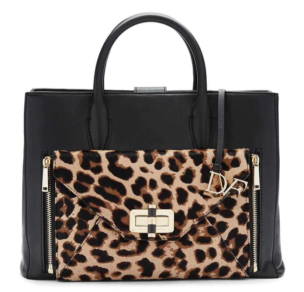 Diane von Furstenberg Secret Agent Large Tote, $498 Diane von Furstenberg Agent Leopard Haircalf Zip On Clutch, $198