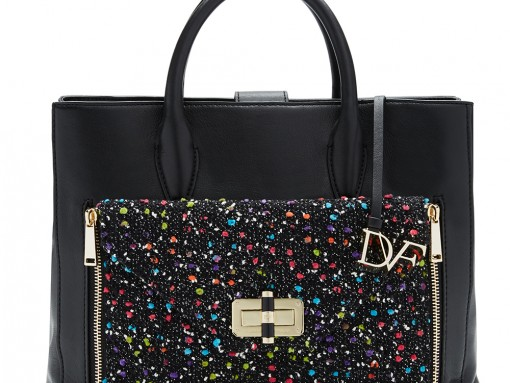 Diane von Furstenberg Secret Agent Large Tote, $498 Diane von Furstenberg Agent Karlie Confetti Tweed Zip-On Clutch, $148
