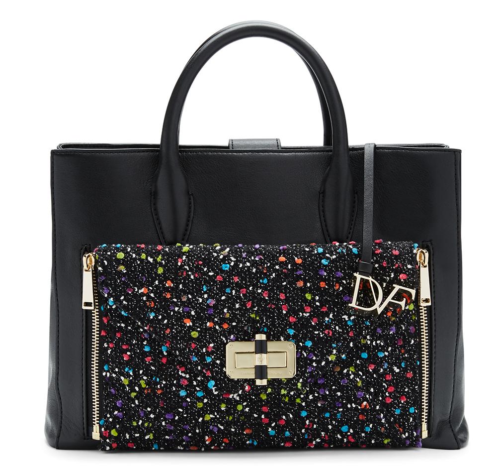 Diane von Furstenberg Secret Agent Large Tote, $498 Diane von Furstenberg Agent Karlie Confetti Tweed Zip-On Clutch, $148