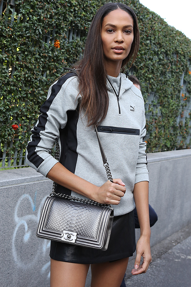 Joan-Smalls-Chanel-Python-Boy-Bag