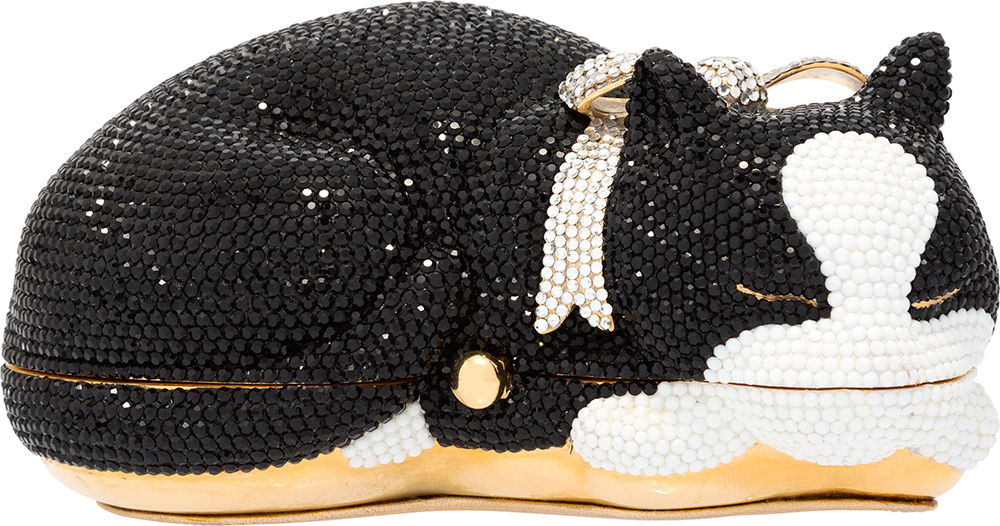 Judith-Leiber-Crystal-Socks-Sleeping-Tuxedo-Cat-Minaudiere