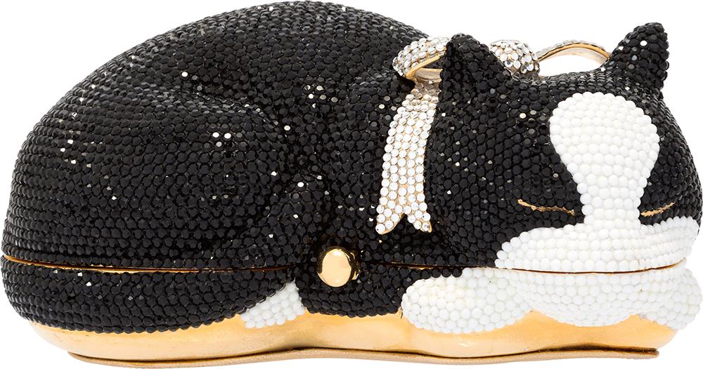 Judith-Leiber-Crystal-Socks-Sleeping-Tuxedo-Cat-Minaudiere