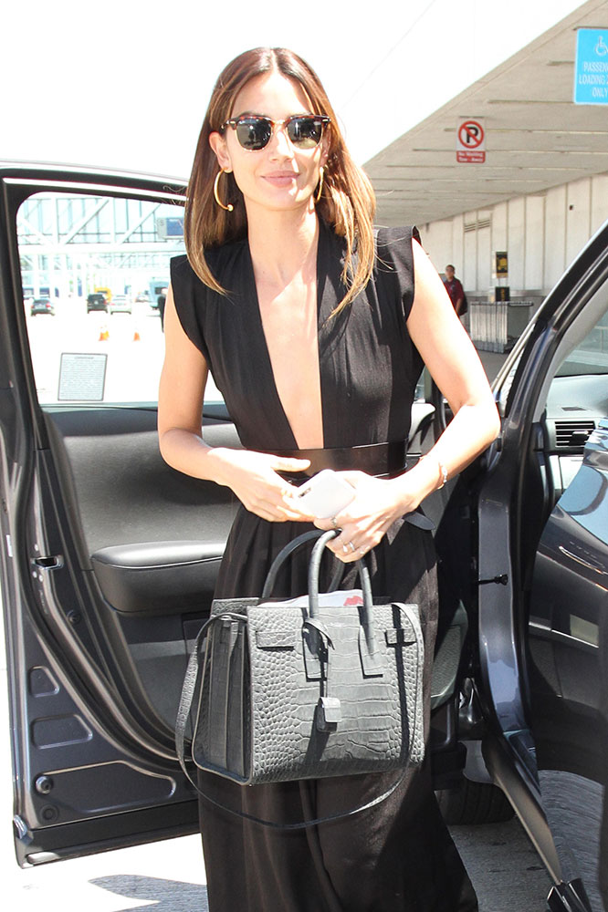 Lily-Aldridge-Saint-Laurent-Croc-Embossed-Sac-de-Jour-Bag