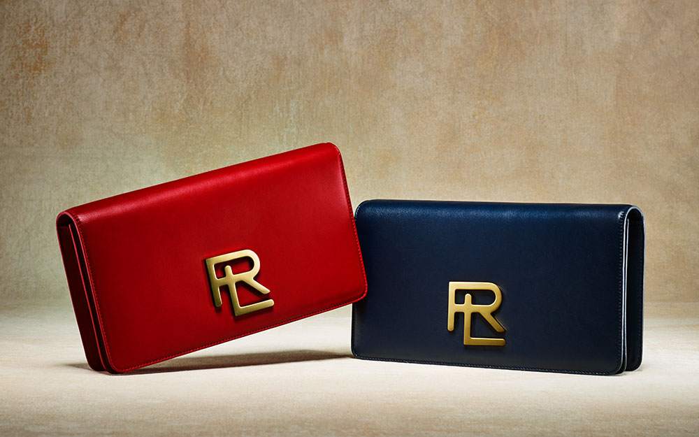Ralph Lauren RL Clutch in Red, $1,200 Ralph Lauren RL Clutch in Navy, $1,200