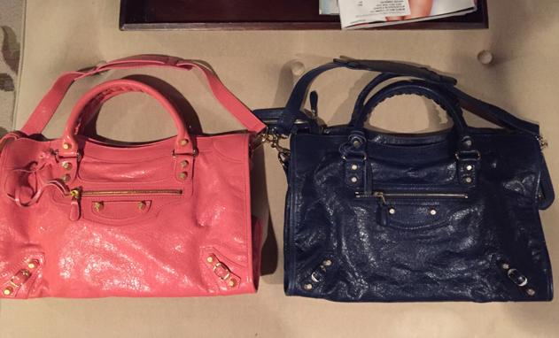 Balenciaga-City-Bags-Pink-and-Blue