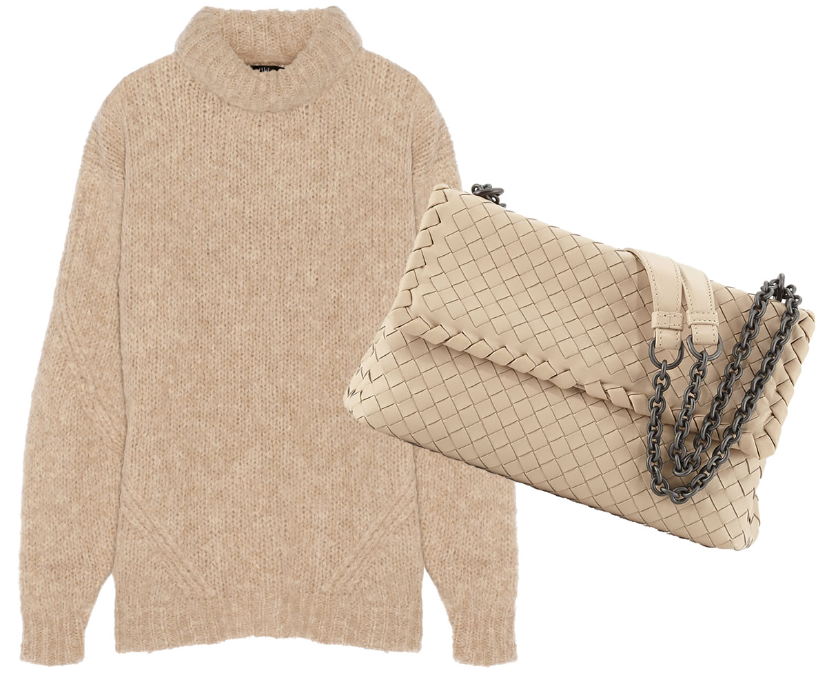 Bottega Veneta Olimpia Medium Intrecciato Bag $2,470 via Neiman Marcus, Tibi Bubble Knitted Turtleneck Sweater $395 via Net-A-Porter