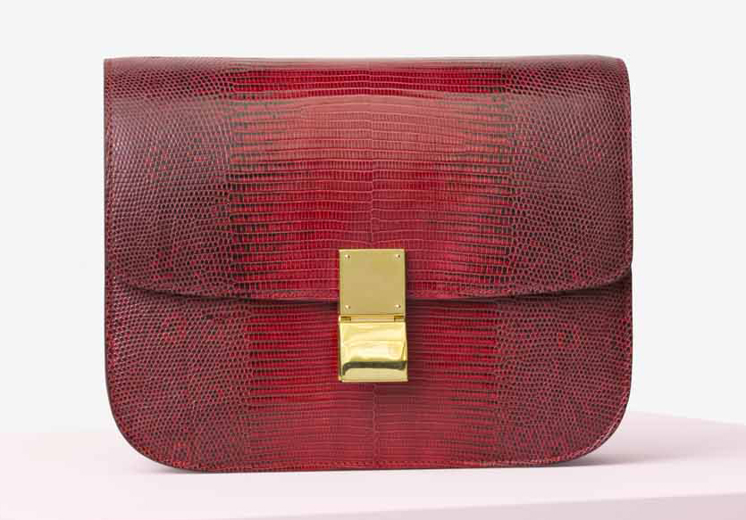 Celine-Classic-Box-Bag-Red-Lizard