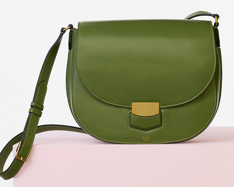 Celine-Medium-Trotteur-Bag-Green